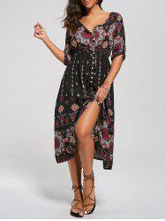 Tribal Print Button Down Split Bohemian Dress