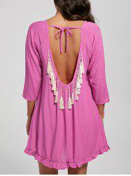 Ruffle Trim Backless Tassel Shift Dress