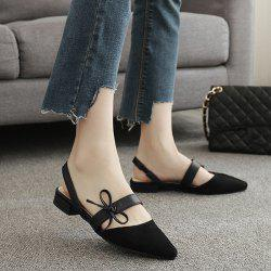 Bowknot Slingback Mary Jane Suede Flat - BLACK