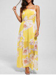 Spaghetti Strap Floral Chiffon Split Beach Maxi Dress