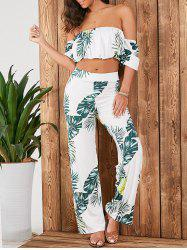 Off Shoulder Crop Top+Tropical Palazzo Pants