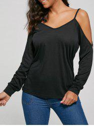 Cold Shoulder Long Sleeve V Neck Blouse
