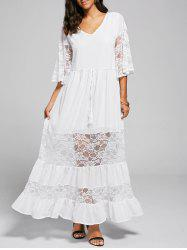 A Line Lace Trim Maxi Party Dress