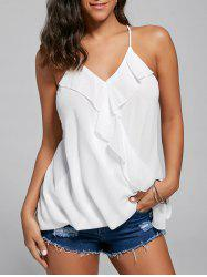 Ruffles Chiffon Wrap Top - WHITE M