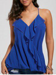 Ruffles Chiffon Wrap Top - BLUE L
