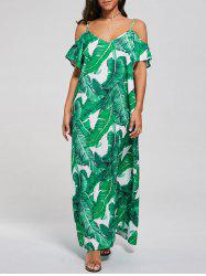 Cold Shoulder Printed Tropical Maxi Dress