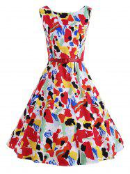 Vintage Printed Skater Pin Up Dress
