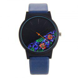 Faux Leather Strap Floral Face Quartz Watch