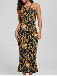 Slit Printed Maxi Fitted Cocktail Dress