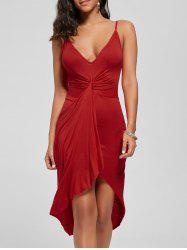 Knotted Asymmetrical Slip Dress - RED