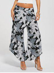 Leaf Print High Waist Layered Palazzo Pants - SMOKY GRAY