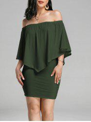 Off The Shoulder Poncho Bodycon Popover Dress - ARMY GREEN