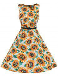 High Waist A Line Sunflower Vintage Dress