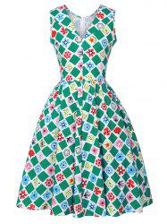 Shawl Collar Printed Pin Up Dress