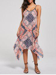 Tribal Print Lace Up Handkerchief Bohemian Dress