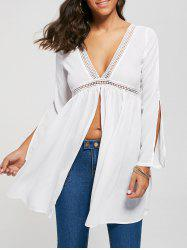 Empire Waist Open Back Front Slit Blouse