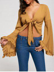 Ruffle Long Sleeve Tie Front Crop Top