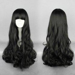 Long Full Bang Curly Synthetic Wig - BLACK