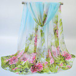 Hand-painted Flowers Bloom Printing Scarf - BLUE