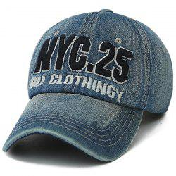 Letters Number Embroidered Nostalgic Baseball Cap - BLUE