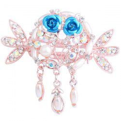 Rhinestone Inlay Tiny Rose Embellished Hairgrip - AZURE