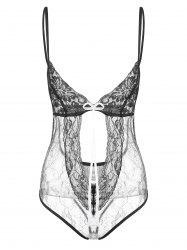 Lace Cut Out Lurex Lingerie Teddy