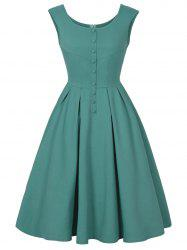 Buttoned Sleeveless Vintage Dress - GREEN