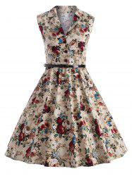 Vintage Floral Swing Pin Up Dress - Floral