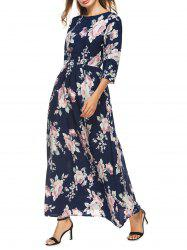 High Waist Floral Maxi Dress with Sleeve