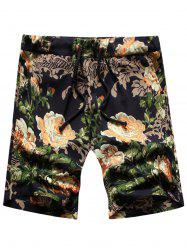 Peony Print Drawstring Shorts - BLACK XL