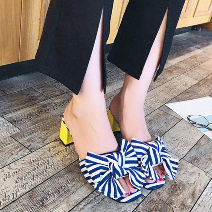 Trendy Bow Striped Mid Heel Slippers