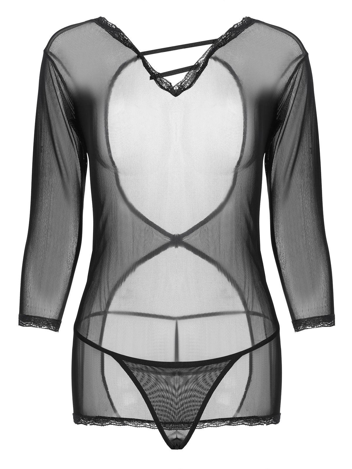 Outfits Open Back Mesh See Thru Sleepwear