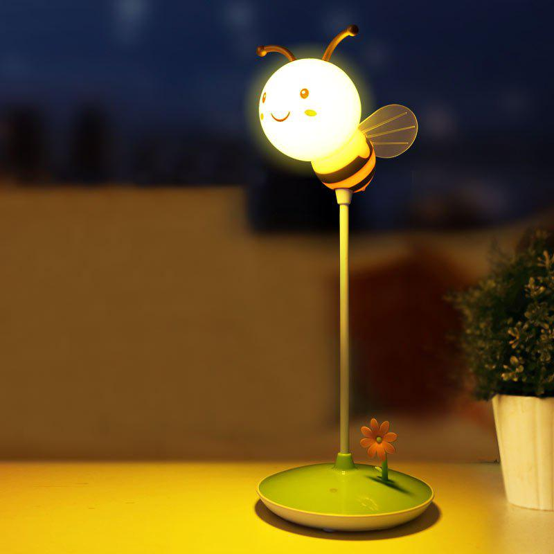 Timing USB Charging Cartoon Bee Desk LampHOME<br><br>Color: CELADON; Products Type: Desk Lamps; Materials: Silicone, ABS; Style: Novelty; Occasion: Bedroom,Home; Weight: 0.6750kg; Package Contents: 1 x Light;