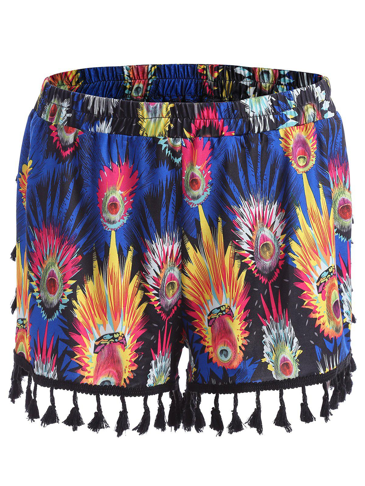 Tassel Feather Print Mini Plus Size ShortsWOMEN<br><br>Size: 3XL; Color: BLUE; Style: Fashion; Length: Short; Material: Polyester; Fit Type: Regular; Waist Type: Mid; Closure Type: Elastic Waist; Pattern Type: Feather; Embellishment: Tassel; Pant Style: Straight; Weight: 0.1600kg; Package Contents: 1 x Shorts;