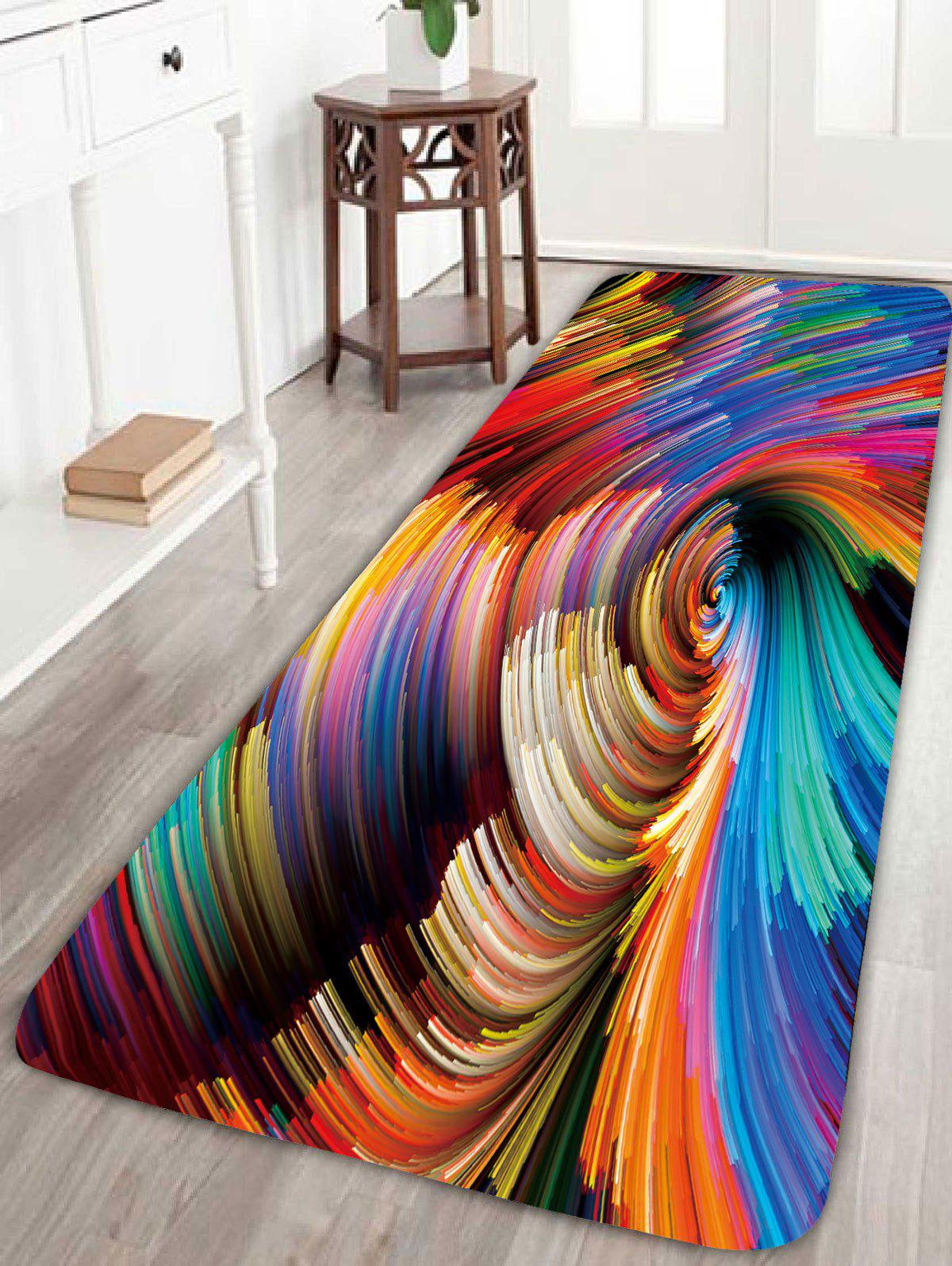Psychedelic Vortex Print Skidproof Bathroom RugHOME<br><br>Size: W24 INCH * L71 INCH; Color: COLORFUL; Products Type: Bath rugs; Materials: Coral FLeece; Pattern: Print; Style: Bohemian; Shape: Rectangle; Package Contents: 1 x Rug;