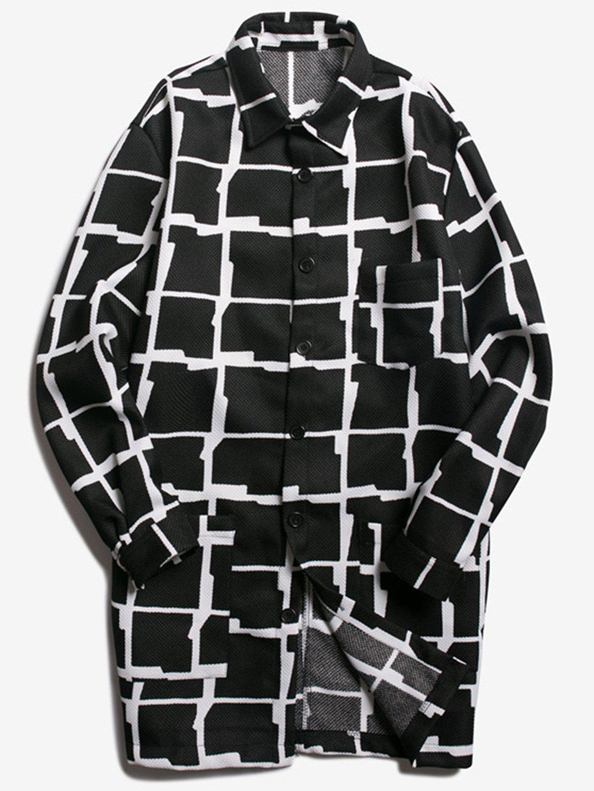 Store Chest Pocket Turndown Collar Checked Coat
