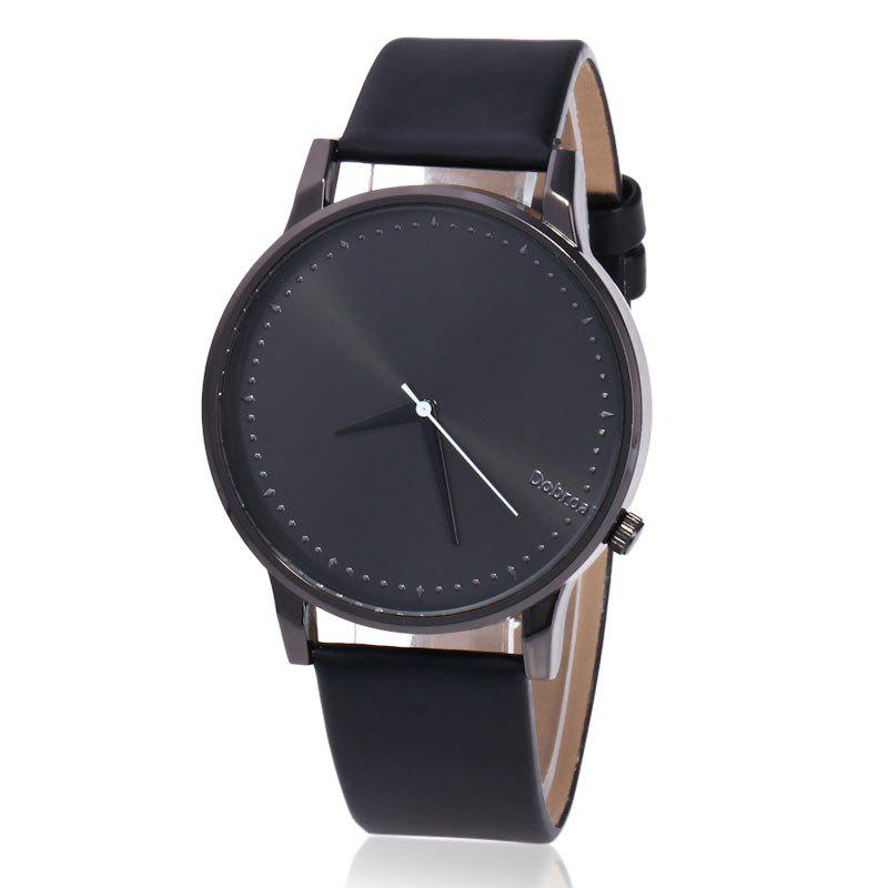 Minimalist Faux Leather Strap Quartz WatchJEWELRY<br><br>Color: BLACK; Gender: For Men; Style: Formal; Type: Quartz watch; Index Dial: Analog; Case material: Alloy; Band material: PU Leather; Movement: Quartz; Dial Shape: Round; Water-Proof: No; Case Thickness(MM): 9mm; Dial Diameter: 4cm; Band Length(CM): 24.5cm; Band Width(CM): 2.0cm; Package Contents: 1 x Watch;