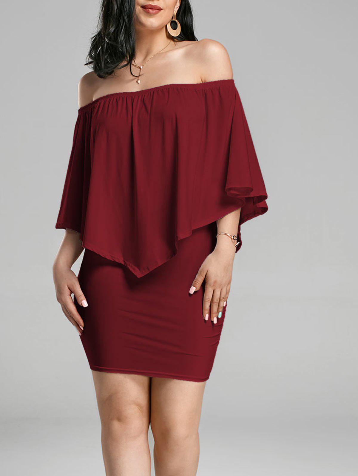 Off The Shoulder Poncho Bodycon Popover DressWOMEN<br><br>Size: XL; Color: WINE RED; Style: Brief; Material: Polyester,Spandex; Silhouette: Bodycon; Dress Type: Popover Dress; Dresses Length: Mini; Neckline: Off The Shoulder; Sleeve Length: 3/4 Length Sleeves; Waist: Natural; Pattern Type: Solid Color; Elasticity: Elastic; With Belt: No; Season: Fall,Spring,Summer; Weight: 0.3200kg; Package Contents: 1 x Dress;