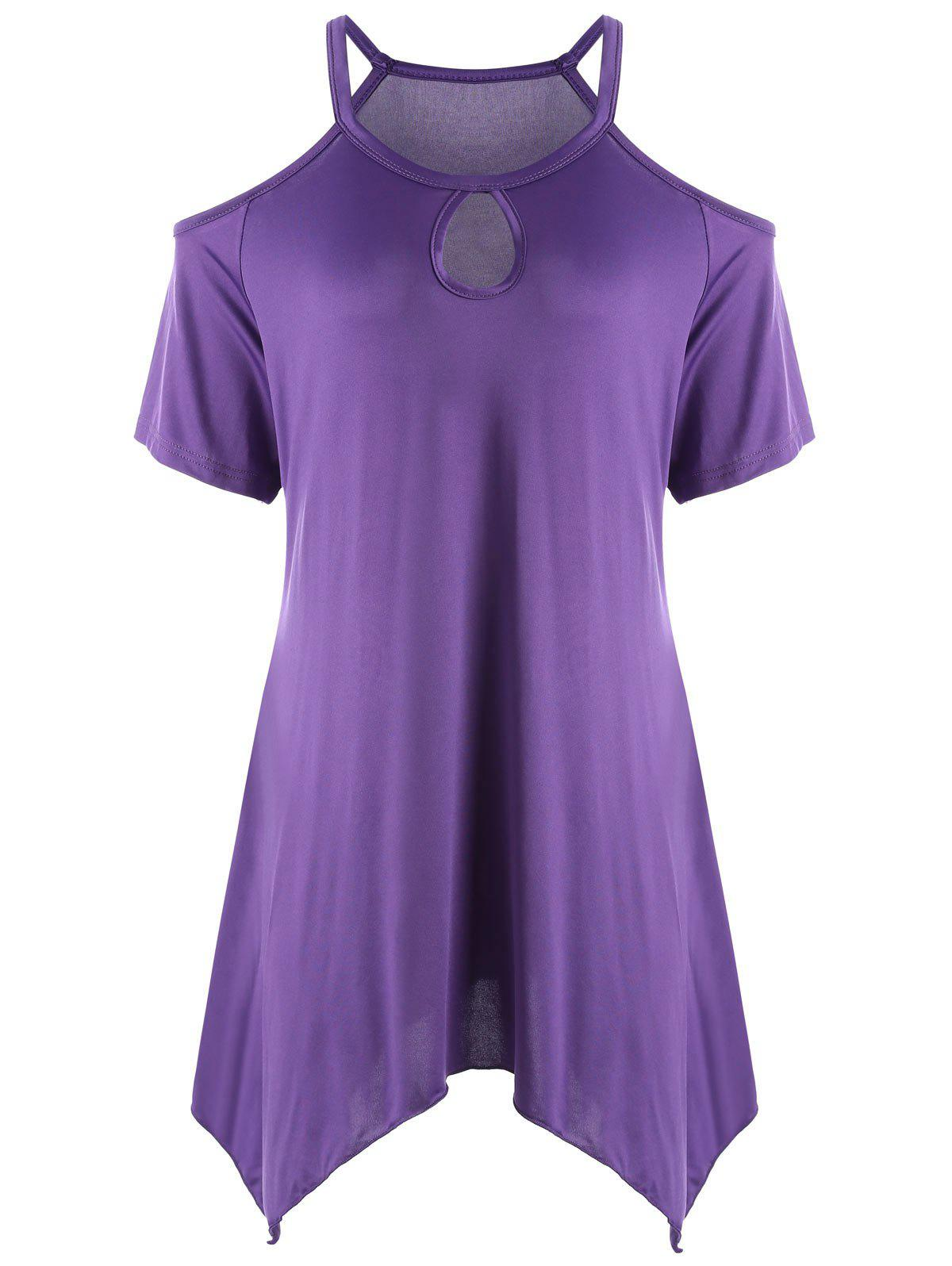 Keyhole Neck Cold Shoulder Plus Size Tunic TopWOMEN<br><br>Size: 5XL; Color: PURPLE; Material: Polyester; Shirt Length: Long; Sleeve Length: Short; Collar: Keyhole Neck; Style: Casual; Season: Summer; Pattern Type: Solid; Weight: 0.2200kg; Package Contents: 1 x Top;