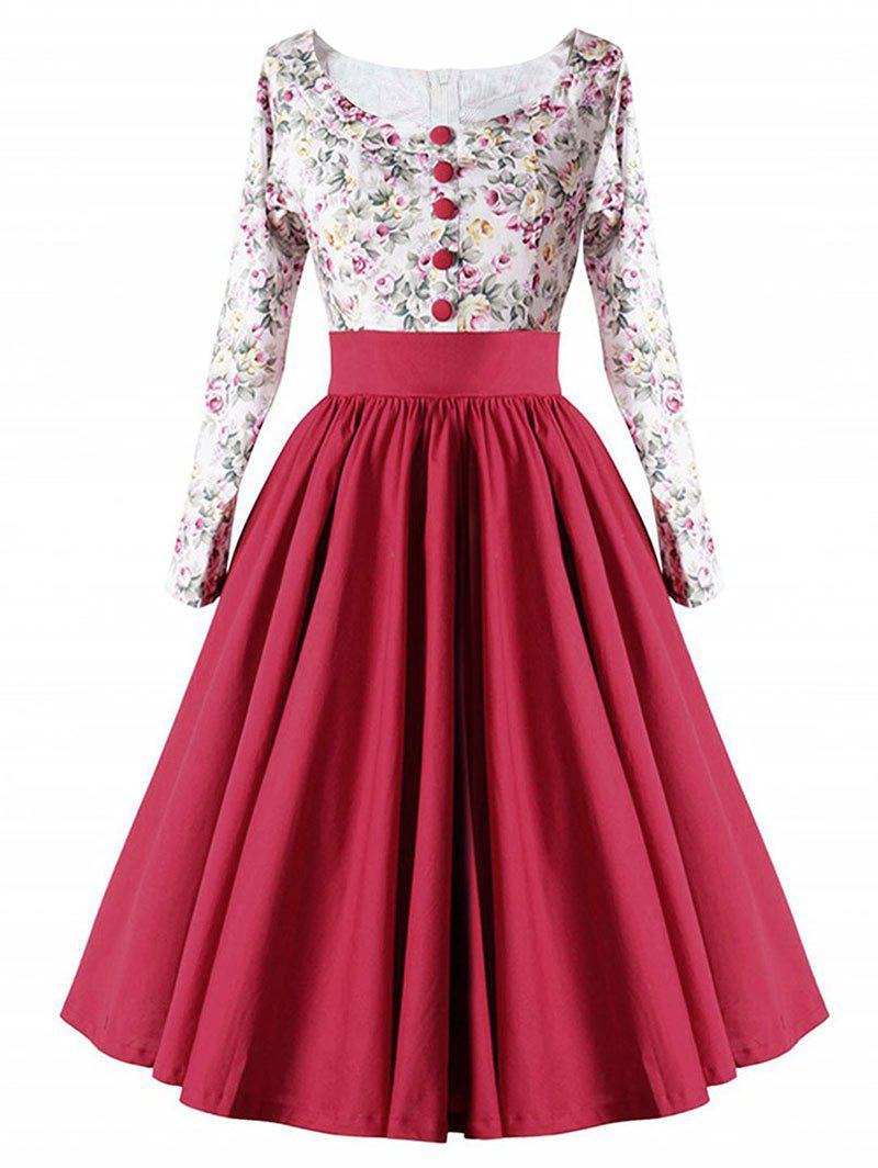High Waist Button Floral Vintage DressWOMEN<br><br>Size: S; Color: RED; Style: Vintage; Material: Cotton,Polyester; Silhouette: A-Line; Dress Type: Fit and Flare Dress; Dresses Length: Knee-Length; Neckline: Scoop Neck; Sleeve Length: Long Sleeves; Embellishment: Button; Pattern Type: Floral; With Belt: No; Season: Fall; Weight: 0.3500kg; Package Contents: 1 x Dress;