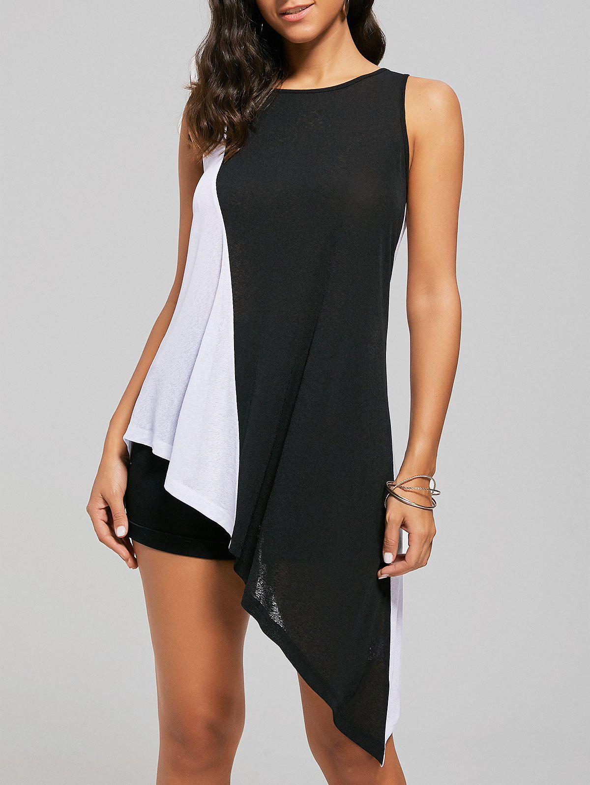 Colorblock Asymmetrical Tunic TopWOMEN<br><br>Size: XL; Color: WHITE AND BLACK; Material: Polyester; Shirt Length: Long; Pattern Type: Patchwork; Style: Fashion; Weight: 0.2000kg; Package Contents: 1 x Tank Top;