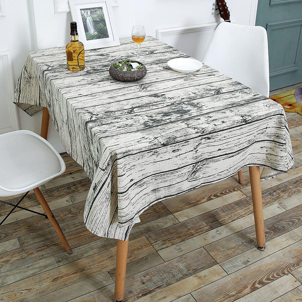 Wood Grain Print Linen Table Cloth For Dining