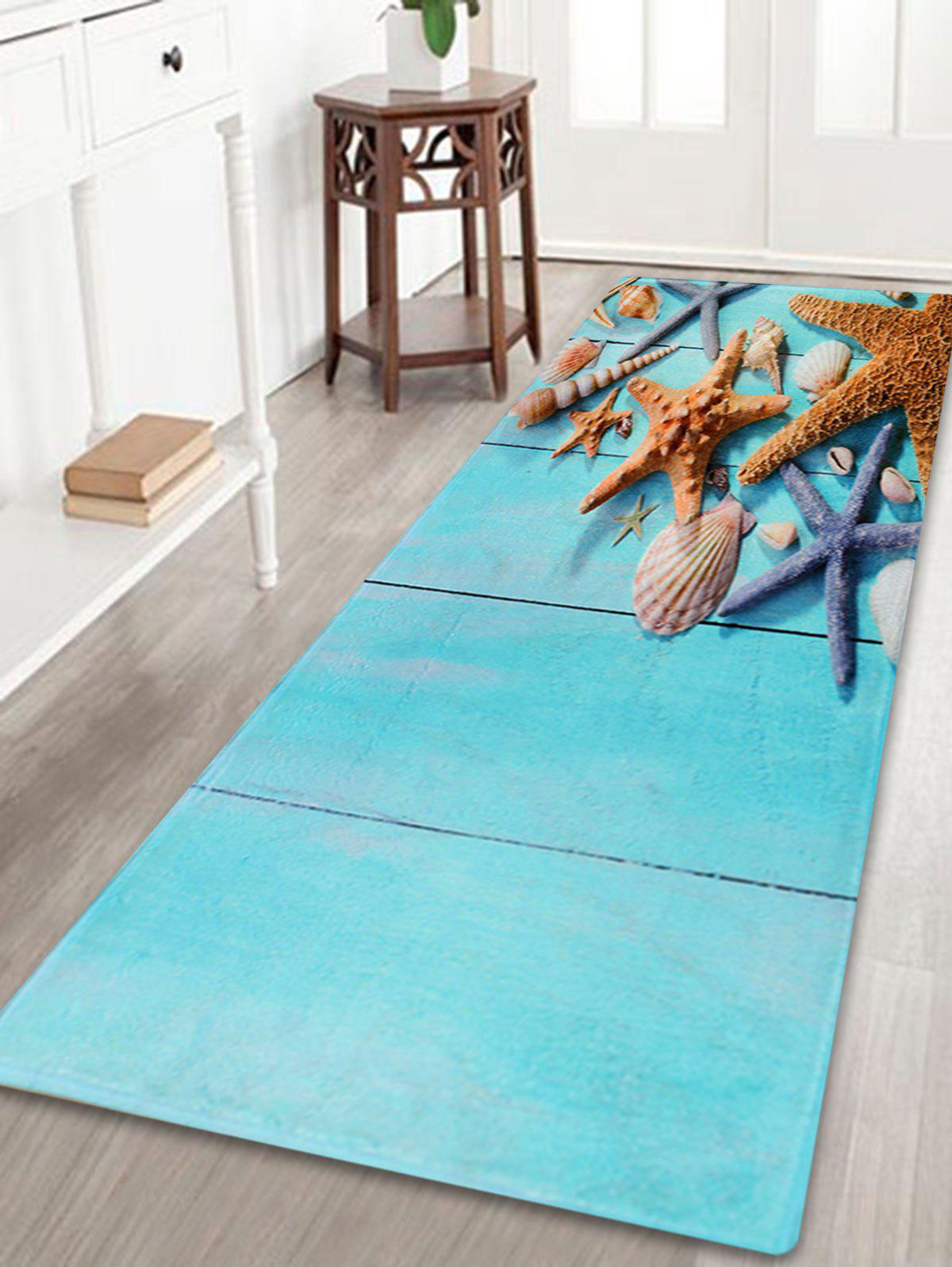 Starfish Plank Water Absorbent Larger Bath RugHOME<br><br>Size: W16 INCH * L47 INCH; Color: LAKE BLUE; Products Type: Bath rugs; Materials: Coral FLeece; Pattern: Print; Style: Beach Style; Shape: Rectangle; Package Contents: 1 x Rug;