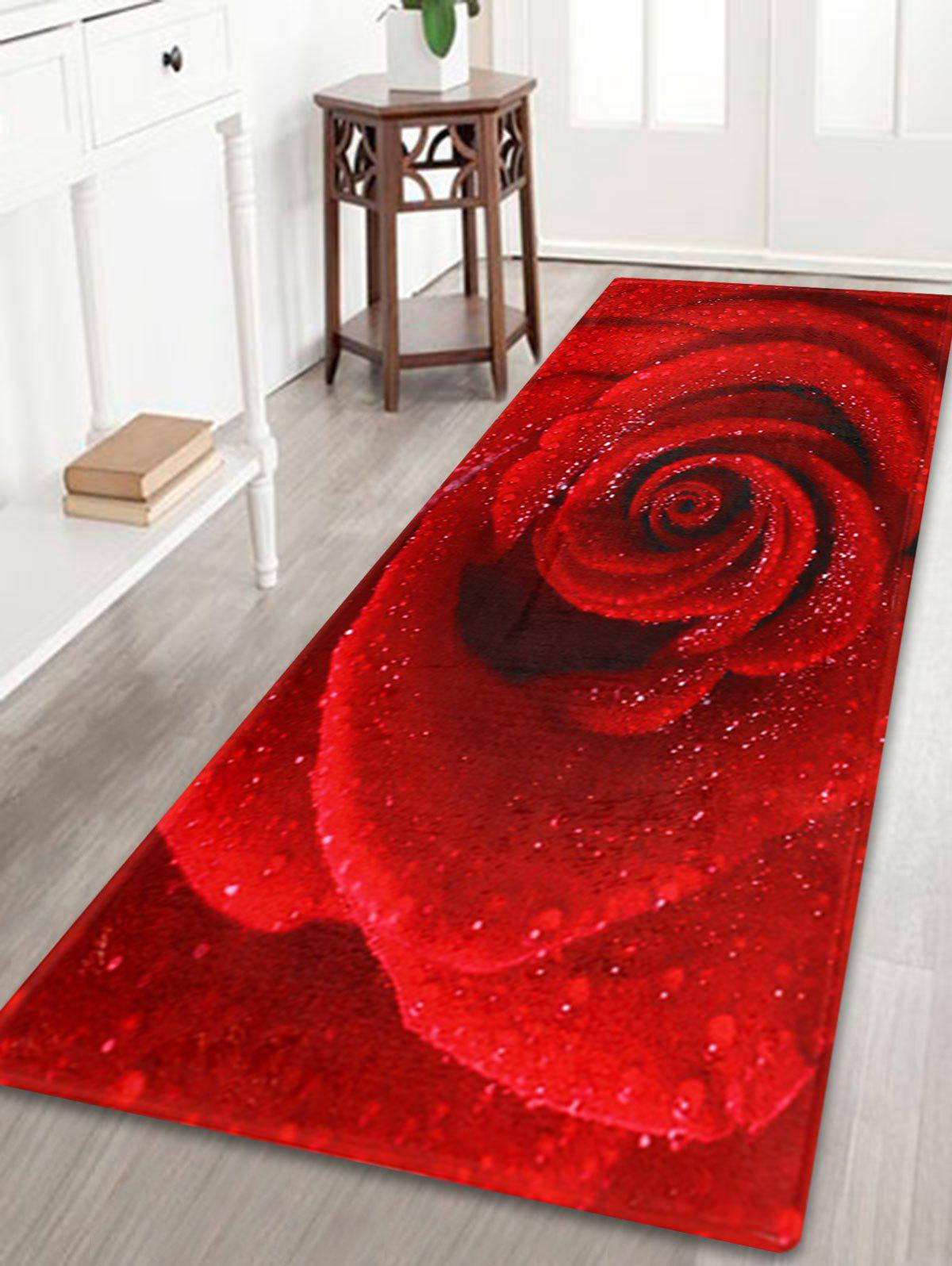 Anti Slip Coral Velvet Rose Flower Bath RugHOME<br><br>Size: W24 INCH * L71 INCH; Color: RED; Products Type: Bath rugs; Materials: Coral FLeece; Pattern: Floral; Style: Romantic; Shape: Rectangle; Package Contents: 1 x Rug;