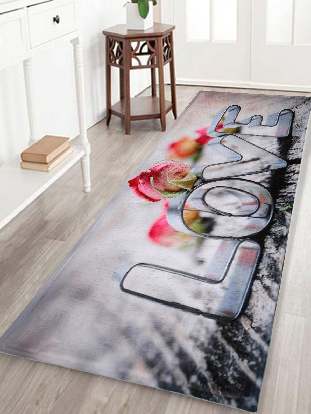 Coral Velvet Love Letter Home Entrance RugHOME<br><br>Size: W24 INCH * L71 INCH; Color: COLORMIX; Products Type: Bath rugs; Materials: Coral FLeece; Pattern: Letter; Style: Trendy; Shape: Rectangle; Package Contents: 1 x Rug;
