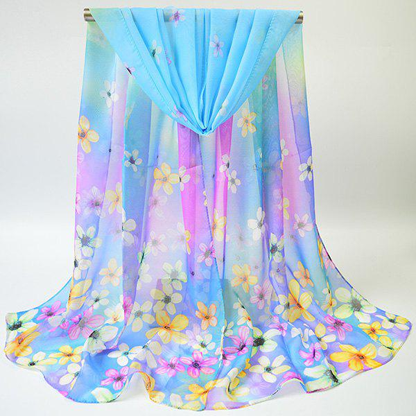 Chiffon Tiny Flowers Printing Gossamer ScarfACCESSORIES<br><br>Color: BLUE; Scarf Type: Scarf; Group: Adult; Gender: For Women; Style: Vintage; Material: Polyester; Pattern Type: Floral; Season: Fall,Spring,Summer,Winter; Scarf Length: 155CM; Scarf Width (CM): 50CM; Weight: 0.0100kg; Package Contents: 1 x Scarf;