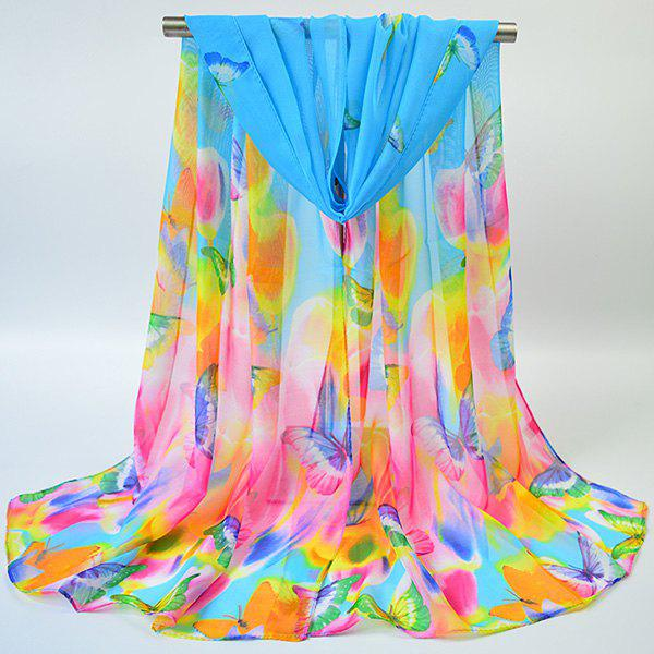 Gossamer Showy Flowers Butterfly Printed ScarfACCESSORIES<br><br>Color: BLUE; Scarf Type: Scarf; Group: Adult; Gender: For Women; Style: Vintage; Material: Polyester; Pattern Type: Floral; Season: Fall,Spring,Summer,Winter; Scarf Length: 155CM; Scarf Width (CM): 50CM; Weight: 0.0100kg; Package Contents: 1 x Scarf;