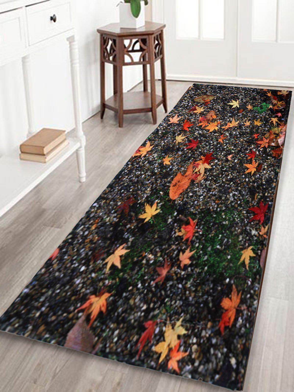 Maple Leaf Sand Floor Non Slip Area RugHOME<br><br>Size: W24 INCH * L71 INCH; Color: COLORMIX; Products Type: Bath rugs; Materials: Coral FLeece; Pattern: Print; Style: Trendy; Shape: Rectangle; Package Contents: 1 x Rug;
