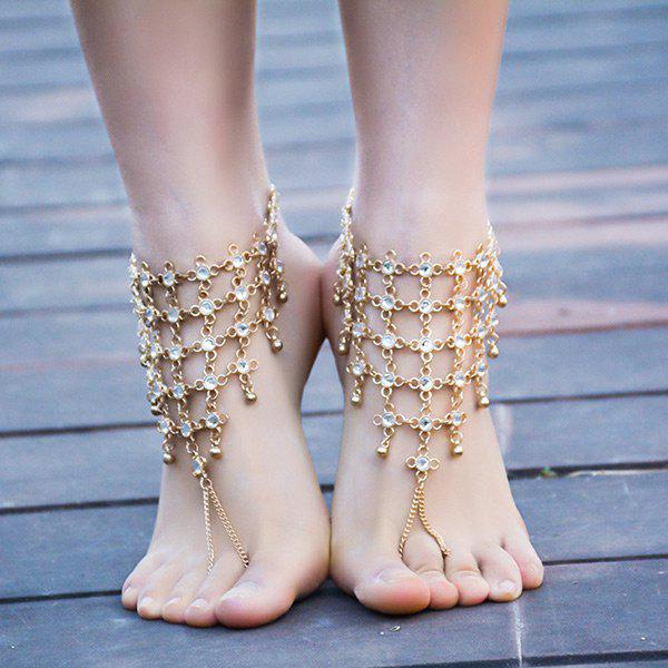 1PC Rhinestoned Chinese Knot Slave AnkletJEWELRY<br><br>Color: GOLDEN; Gender: For Women; Material: Rhinestone; Style: Noble and Elegant; Shape/Pattern: Geometric; Length: 30CM; Weight: 0.0600kg; Package Contents: 1 x Anklet;