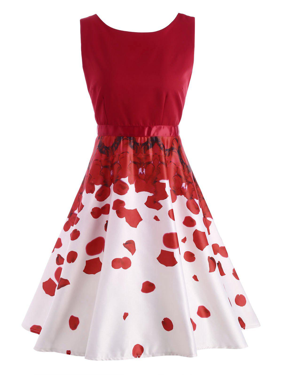 Petal Print Semi Formal Holiday DressWOMEN<br><br>Size: M; Color: RED; Style: Vintage; Material: Cotton,Polyester; Silhouette: A-Line; Dresses Length: Knee-Length; Neckline: Round Collar; Sleeve Length: Sleeveless; Pattern Type: Print; With Belt: No; Season: Summer; Weight: 0.3500kg; Package Contents: 1 x Dress;